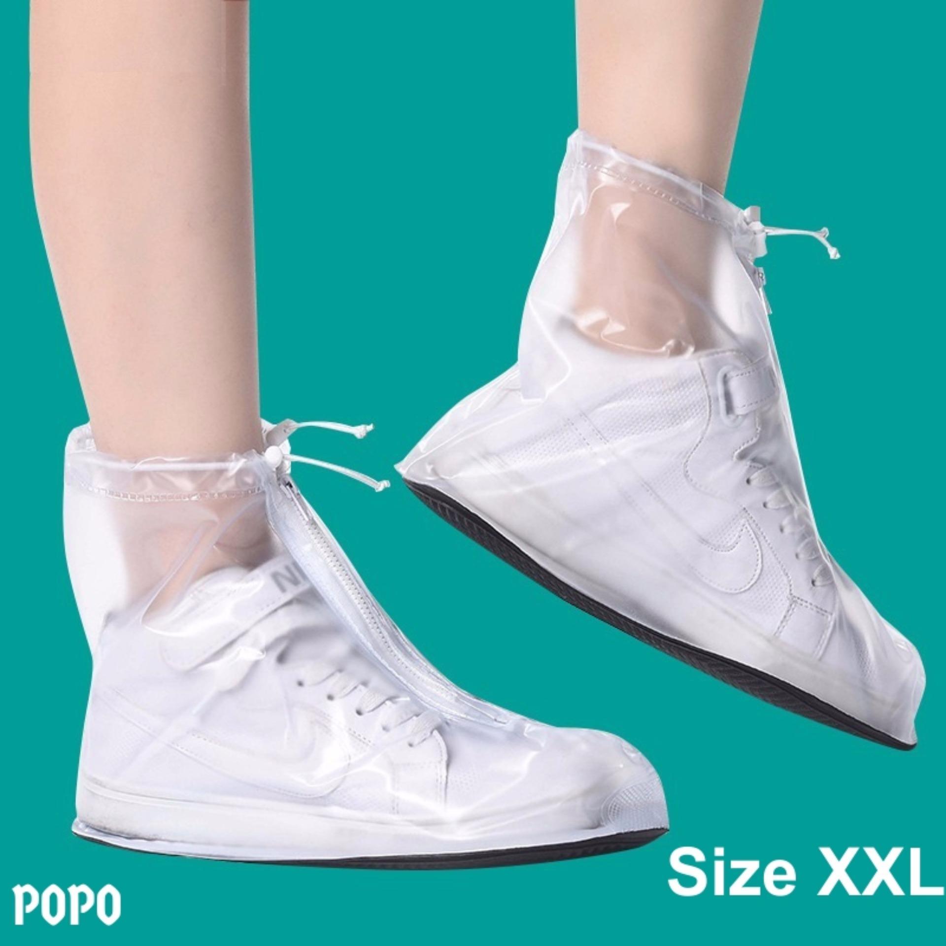 Bọc giày đi mưa cho nam Size XXL (Trắng), chống thấm nước 100%, chất liệu cao cấp + Quà tặng ngẫu nhiên