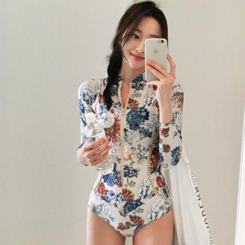 Nơi bán Áo In Hoa Một Mảnh Mỏng Dài Tay Nữ Đầm Nữ Thời Trang Miếng Lót Tam Giác Đi Biển-quốc tế