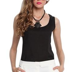 Hình ảnh Casual Women Girls Vest Summer Loose Chiffon Sleeveless Tank T-Shirt Top Blouse Black - intl