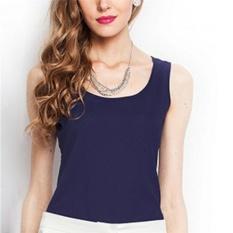 Hình ảnh Casual Women Girls Vest Summer Loose Chiffon Sleeveless Tank T-Shirt Top Blouse Navy Blue - intl