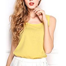 Hình ảnh Giày Nữ Cô Gái Áo Mùa Hè Voan Không Tay Xe Tăng Áo Thun Top Áo Màu Vàng-quốc tế