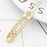 Sang trọng Pin Hình Tóc Kim Loại Đơn Giản Kẹp Tóc Tóc Dính Nữ Phụ Kiện Tóc Vàng 5.6 cm -quốc tế