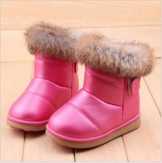 Child Girls Kids Winter Warm Booties Leather Rabbit Fur Shoes Snow Ankle Boots - intl
