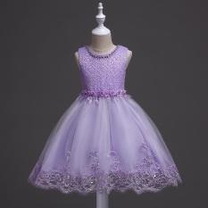 Trẻ em Đầm Váy Công Chúa Pompon Váy Cưới Đầm Hoa Bé Gái Nhảy Múa Hiệu Suất Kim Sa Lấp Lánh-quốc tế