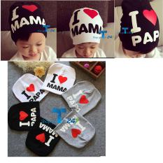 Hình ảnh Combo 02 mũ cotton I love Mama & i love papa (Đen và trắng)