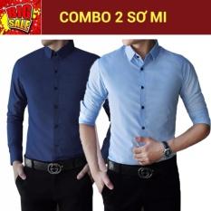 Giá Bán Combo 2 Ao Sơ Mi Tay Dai Body Nut Bấm New Fashion Xanh Đen Xanh Nhạt Rẻ