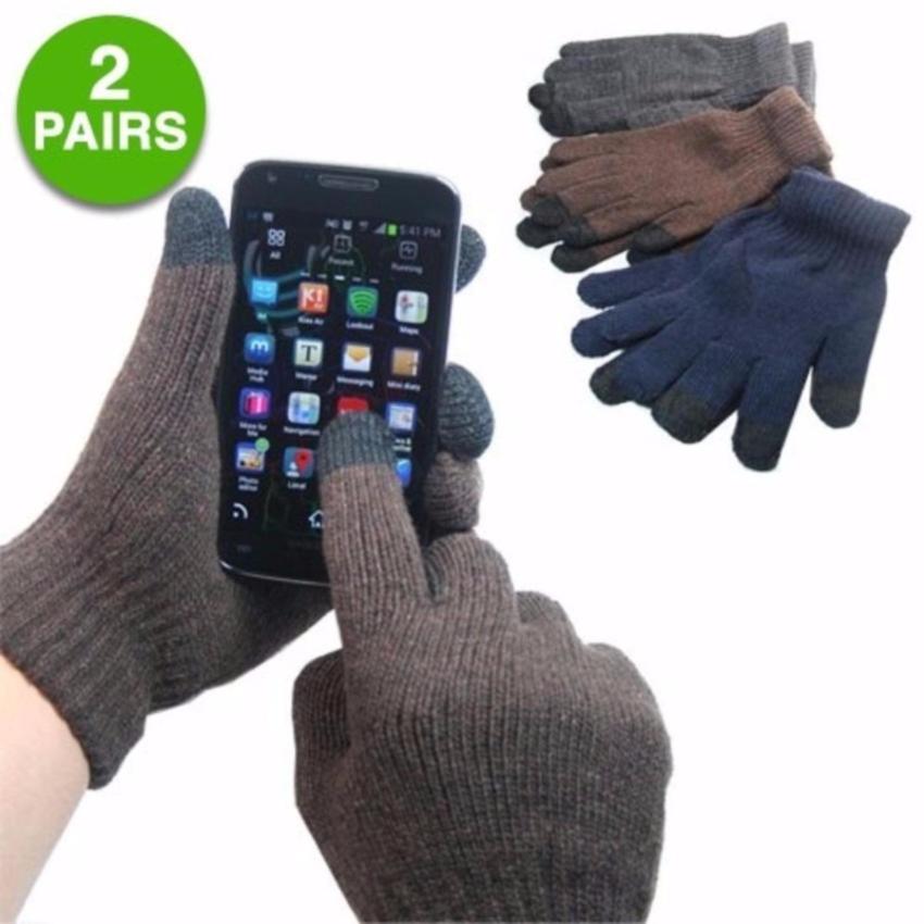 Combo 2 đôi Găng tay len tích hợp cảm ứng dành cho Nam