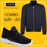Mua Combo Ao Bomber Jacket Chống Thấm Nước Đen Giay Sneaker Thời Trang Nam Zapas Gz022 Đen Đế Trắng Cb311 Zapas