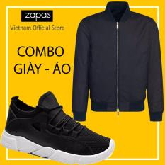 Giá Bán Combo Ao Bomber Jacket Chống Thấm Nước Đen Giay Sneaker Thời Trang Nam Zapas Gz022 Đen Đế Trắng Cb311 Zapas Mới