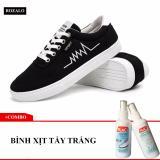 Giá Bán Combo Giay Sneaker Nam Rozalo Rmg3901B Đen 1 Binh Xịt Nước Tẩy Trắng Va Lam Sạch Giay Rozalo Shoe Waxes Mới