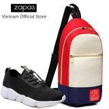 Mua Combo Giay Sneaker Nam Zapas Gz023 Mau Đen Tui Messenger Dcg028 Mau Trắng Phối Đỏ Cb358 Rẻ