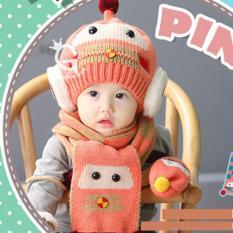 Giá bán Combo mũ và khăn len ấm áp thời trang cho bé yêu hình Robot KOREA F89 (Hồng)