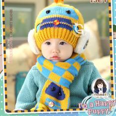 Combo mũ và khăn len ấm áp thời trang cho bé yêu hình Robot KOREA F89 (Vàng)