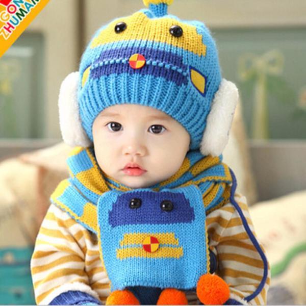 Combo mũ và khăn len ấm áp thời trang cho bé yêu hình Robot KOREA F89 (Xanh)