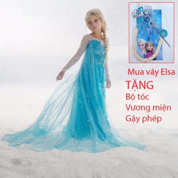 Giá bán Combo Váy đầm công chúa Elsa và bộ tóc + vương miện + gậy phép