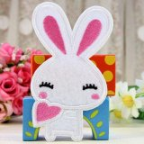 Cute 2pcs Embroidered Cloth Iron On Patch Motif Applique Sew Couple Rabbit Small Small WHite - Intl - intl