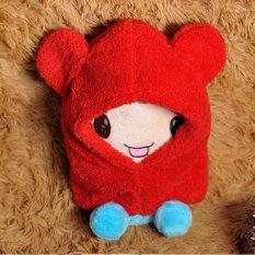 Giá bán Cute Toddler Boy Girl Baby Kids Warm Winter Hat Hood Scarf Beanie Cap Earflap RED S - intl