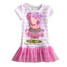 Hình ảnh Cyber New Bé Gái Kids Màu Hồng Peppa Pig Hoa Văn Đầm Công Chúa Đầm Voan 5 Kích Cỡ (Đỏ)-quốc tế