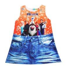 Giá bán Đầm Frozen bé gái 2-9 tuổi Tri Lan DBG055 (cam xanh)