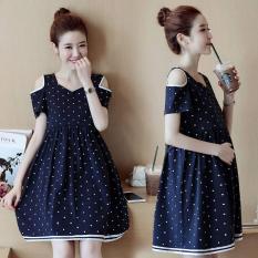 Đầm bầu chấm bi màu xanh
