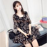 Giá Bán Đầm Hoa Xinh Xắn Tay Loe Dn028 Đen Rẻ Nhất