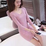 Đầm Len Dai Tay Thu Đong Cổ V Rozalo Rw2651P Hồng Vietnam Chiết Khấu 50