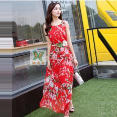 Giá Bán Đầm Maxi Dịu Dang Hoa Đao Dm010 Đỏ Nguyên Oem