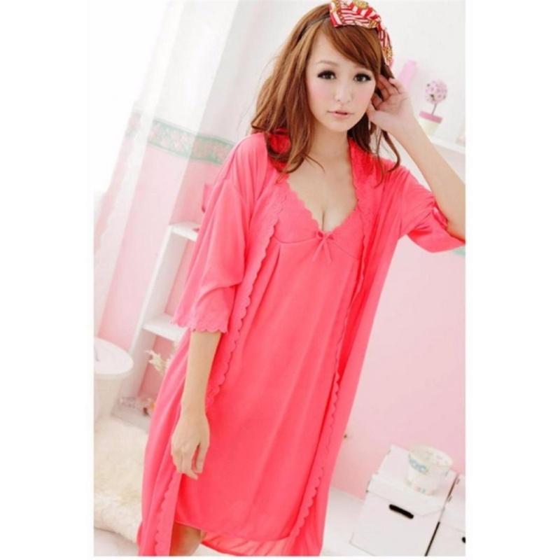 Nơi bán Đầm ngủ kèm áo khoác Trung Niên Thun mát CDAN15 Kim Phát (Hồng) - Size 3XL