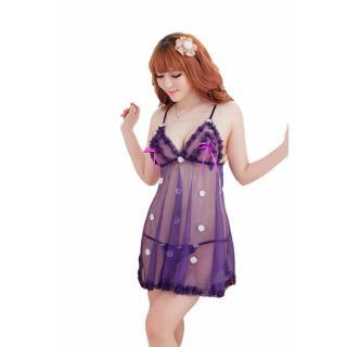 Đầm ngủ quyến rũ 2 dây hoa rơi Chodeal24h (tím) thumbnail