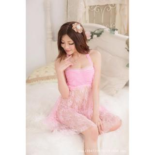 Đầm ngủ quyến rũ nhún ngực phối ren Chodeal24h (hồng) thumbnail