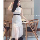 Đầm Nữ Ren Lưới Đuoi Ca Cột Nơ Eo Viva Dress Cao Cấp Mau Trắng Mới Nhất