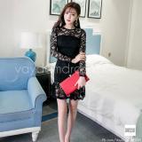 Đầm Om Đẹp Thời Trang Cao Cấp Ren Đuoi Ca Dressie Db0313A Đen Oem Chiết Khấu