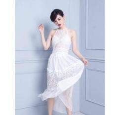 Giá Bán Đầm Ren Maxi Xuyen Thấu Lot Lụa Co Mut Ngực Sieu S*xy Mau Trắng Oem Nguyên