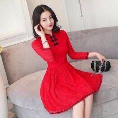 Đầm Ren Tay Lỡ Cổ Sẵm Nut Thắt Đỏ Hồ Chí Minh Chiết Khấu
