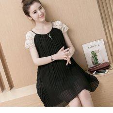 Đầm (Váy) Bầu Kiểu Dáng Hàn Quốc Xếp Ly Đen Size L
