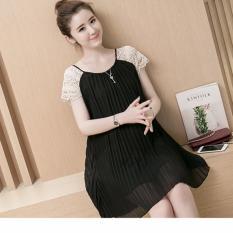 Đầm (Váy) Bầu Kiểu Dáng Hàn Quốc Xếp Ly Đen Size XL