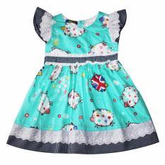 Giá Bán Đầm Xoe Cotton Cho Be Gai 2 9 Tuổi Dbg074 Xanh Tri Lan Nguyên