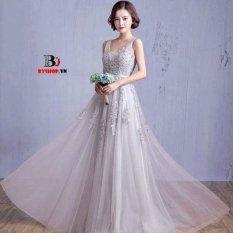 Mua Đầm Xoe Hoa Rơi Form Dai Phối Lưới Thướt Tha Hana Fashion 020 Xam Kem Hồ Chí Minh