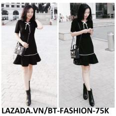 Hình ảnh Đầm Xòe Lai Nữ, Ôm Thời Trang Thời Trang Hàn Quốc Mới - BT Fashion - DA031B (Đen - Xòe Lai)