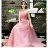 Đầm Xoe Lưới Dai Thướt Tha 1 Vai Hana Fashion Hồng Phấn Oem Chiết Khấu 40