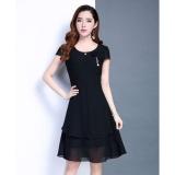 Mua Đầm Xoe Voan Chiffon Đinh Hoa Hồng Misa Fashion Ms278 Đen Trực Tuyến Rẻ