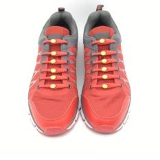 Hình ảnh Dây Giày Cao Su Đàn Hồi Thông Minh Hilaces Silicon 100% - Đỏ Chốt Vàng Bộ 14 Dây Mới