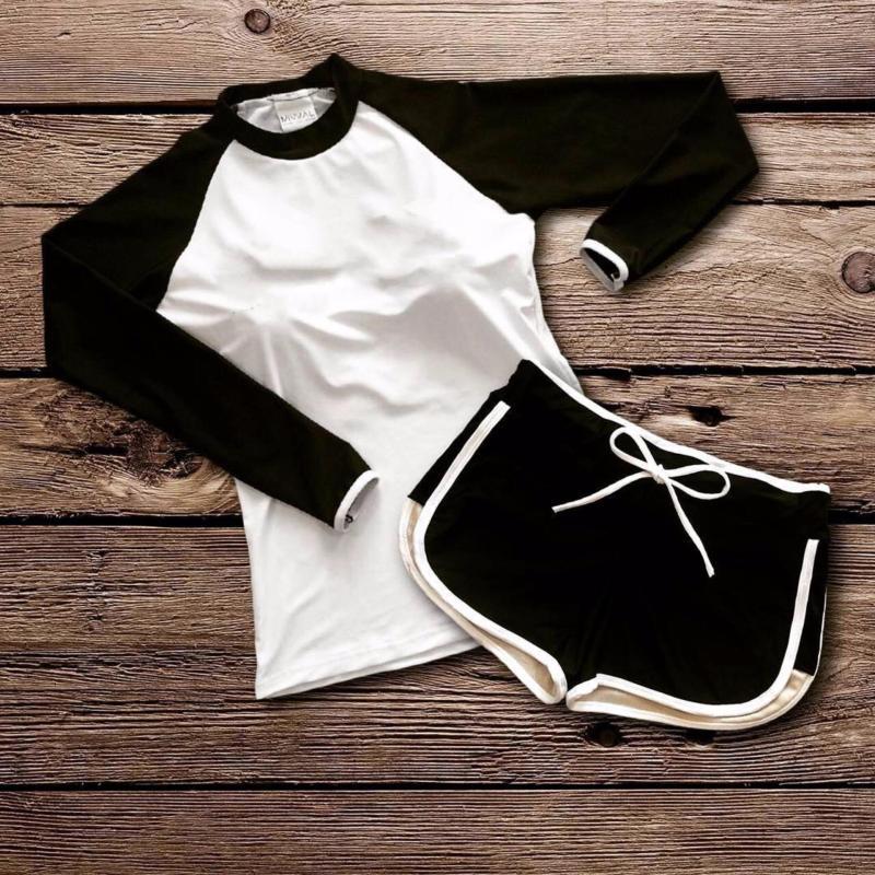 Nơi bán Đồ bơi tay dài short (trắng)