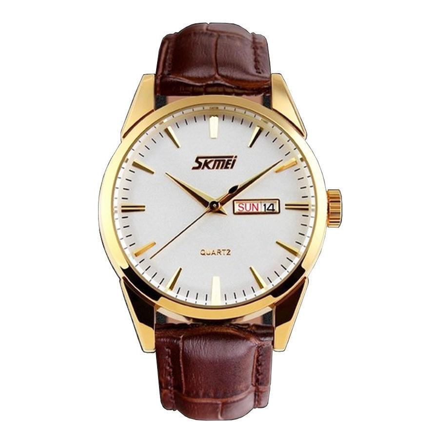 Đồng hồ nam dây da Skmei 9073 Nâu