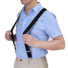 Bán Mua Elastic 3 5Cm Width Men X Shape Adjustable 4 Clips Belts Braces Black Intl Mới Bình Dương