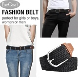 Esogoal Braided Stretch Belt Canvas Fabric Woven Elastic Casual Belt For Men And Women Black Intl Trung Quốc