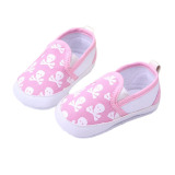 Fancyqube Fashion Baby Boys Girls Toddler Non-Slip Soft Sole Skull Print Pattern Shoes Sneakers Pink