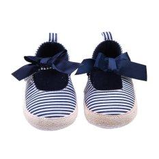Giá bán Thời trang Trẻ Em Bé Sọc Trẻ Sơ Sinh Giày Tập Đi Cho Bé Gái Nơ Cho Bé Mềm Mại Cũi Giày MÀU XANH-quốc tế