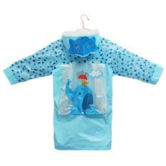 Hình ảnh Funny Raincoat Baby Children Kids Cartoon Rain Coat Rainwear Waterproof Rainsuit XL (Blue Elephant) - intl