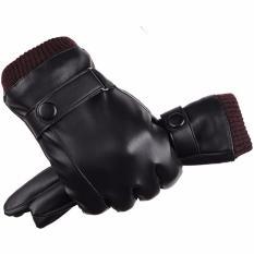 Hình ảnh Găng tay da nam cảm ứng chống nước (Đen)
